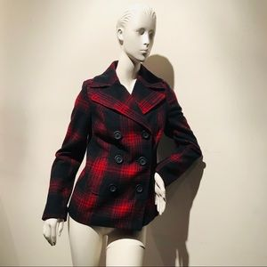 OLD NAVY Red & Blue Plaid Pea Coat Jacket sz XS